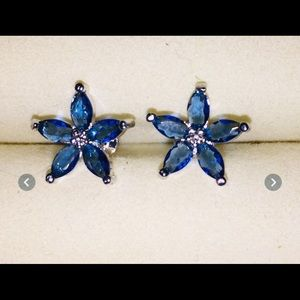 925 sterling silver, Blue sapphire earring studs